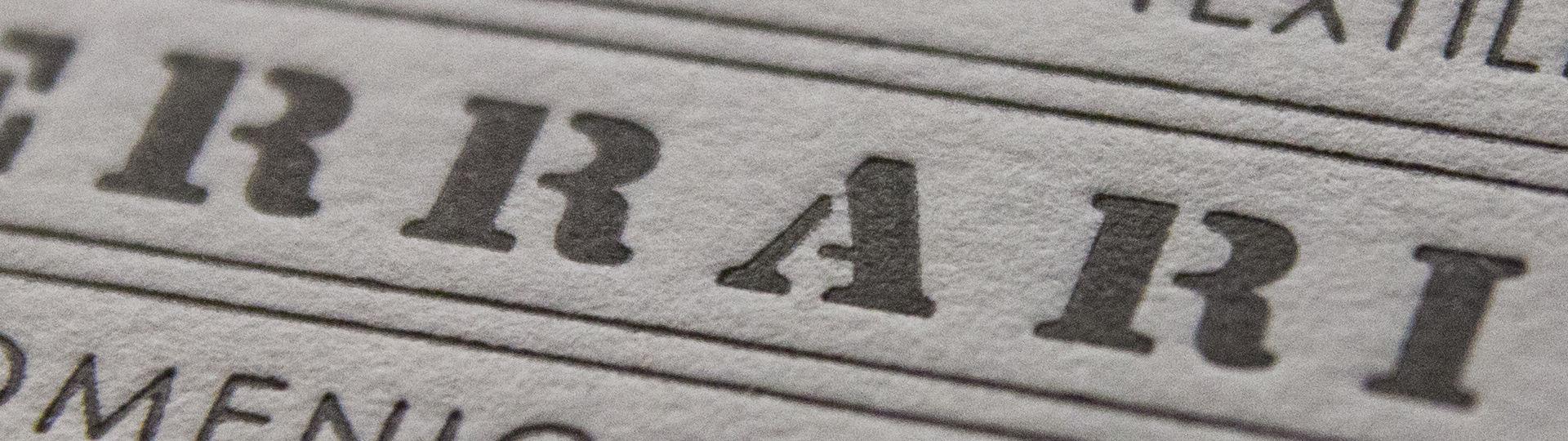 stampa letterpress con bassorilievo